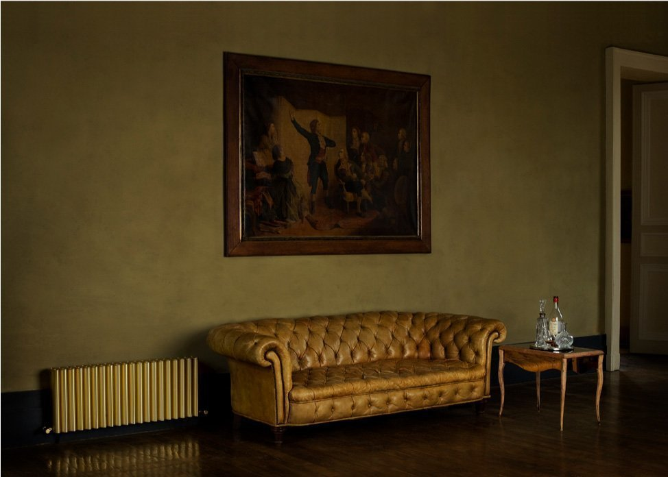 Golden Ron next to golden couch