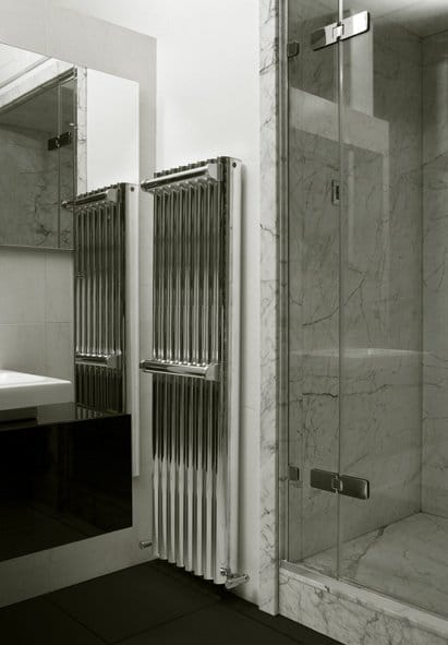 Silver Ron in a bathroom with two towel rails