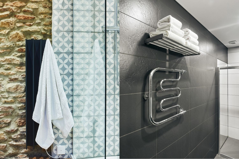 A vertical towel rail vs a ladder towel rail