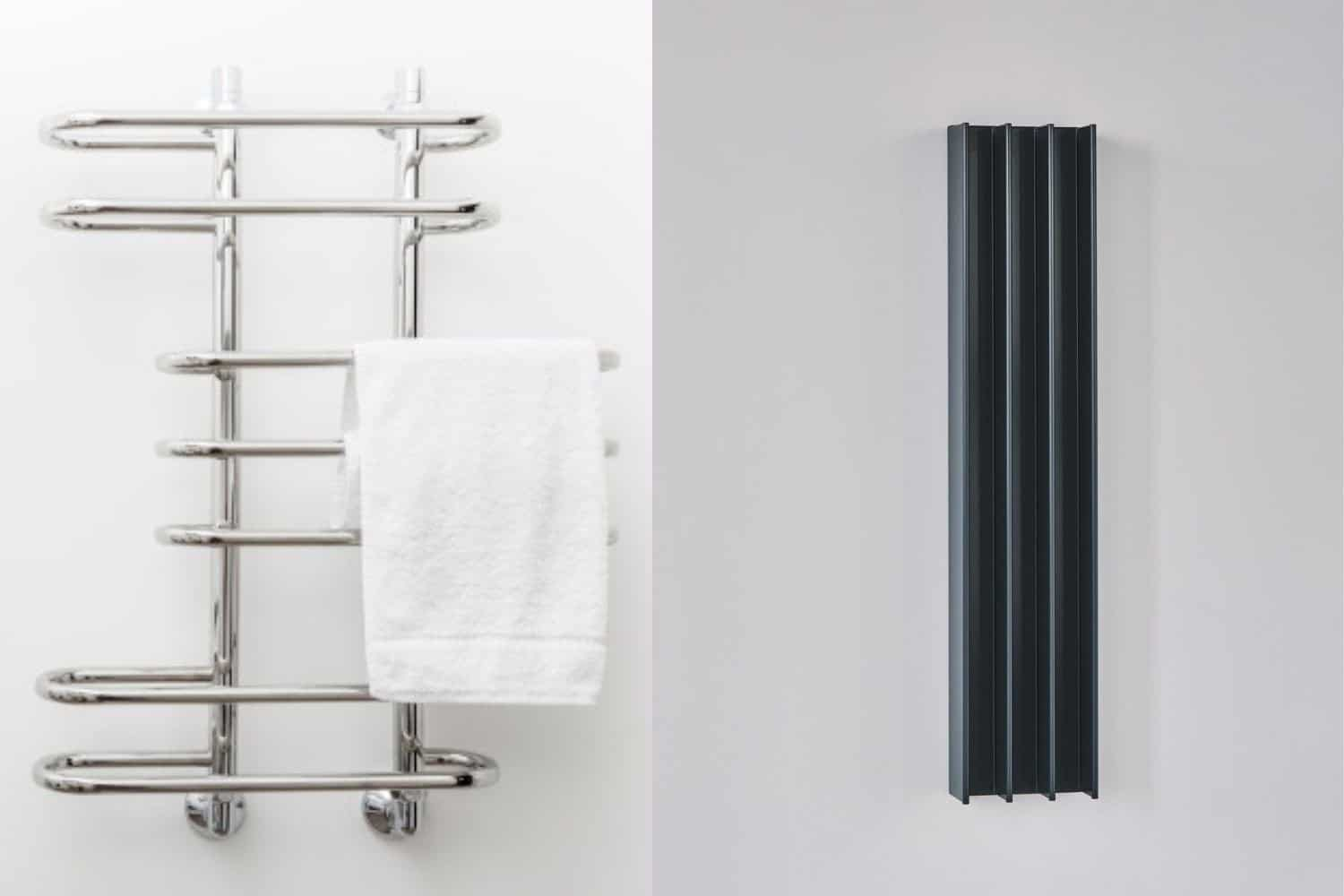 A stainless steel towel rail next to a vertical aluminum warmer