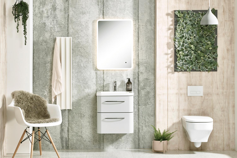 designer bathroom with white heated towel rail